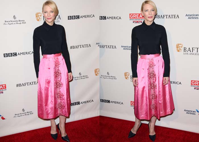 Cate Blanchett wears a Camilla and Marc top with a pink satin midi skirt on the red carpet
