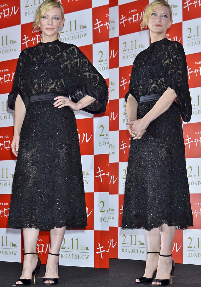 Cate Blanchett wears a black beaded Givenchy dress for an appearance in Tokyo