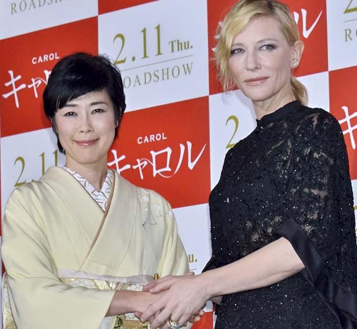 Cate Blanchett poses for photos with Japanese actress Shinobu Terashima