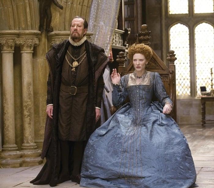 Cate Blanchett as much shorter Queen Elizabeth I of England in Elizabeth and Elizabeth: The Golden Age