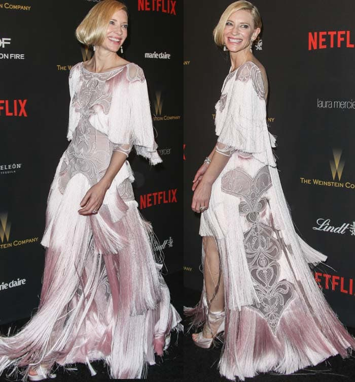 Cate Blanchett wears a custom pink fringe-and-lace Givenchy dress on the red carpet