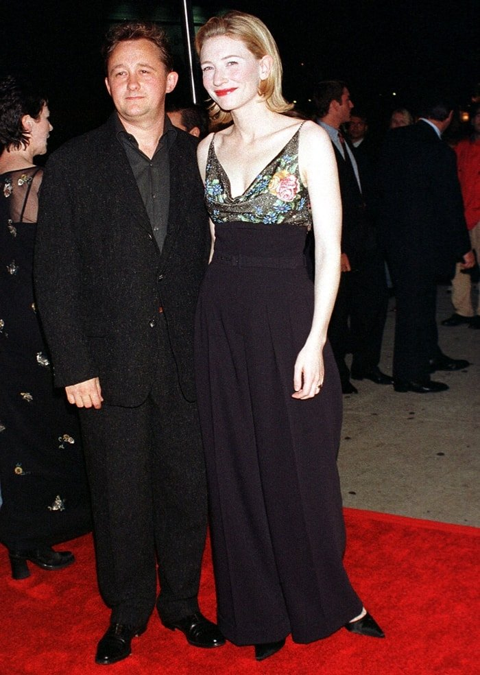 Cate Blanchett and her husband Andrew Upton at the premiere of Elizabeth in New York City in October 1998