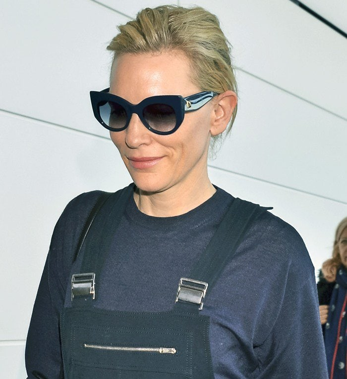 Cate Blanchett wears her hair back as she arrives at Narita International Airport in Chiba, Japan
