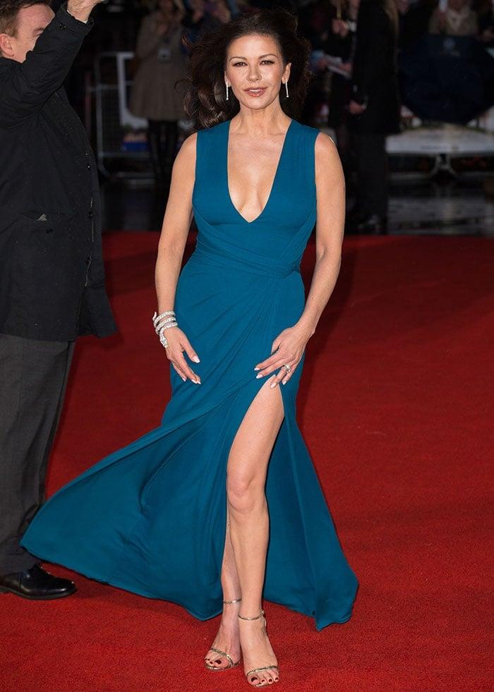 Catherine Zeta-Jones stuns in an Elie Saab dress and a statement serpent bracelet