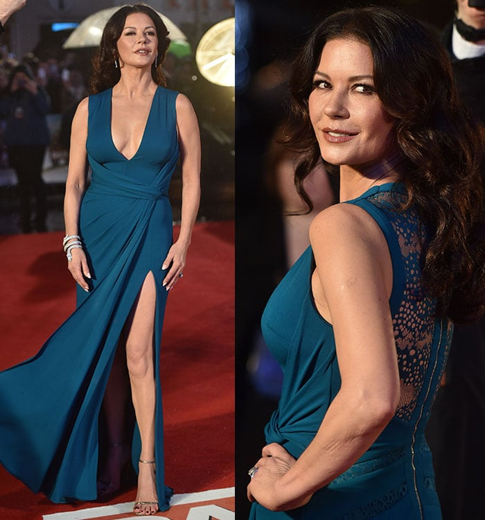 Catherine Zeta-Jones stuns in a draped teal dress from Elie Saab