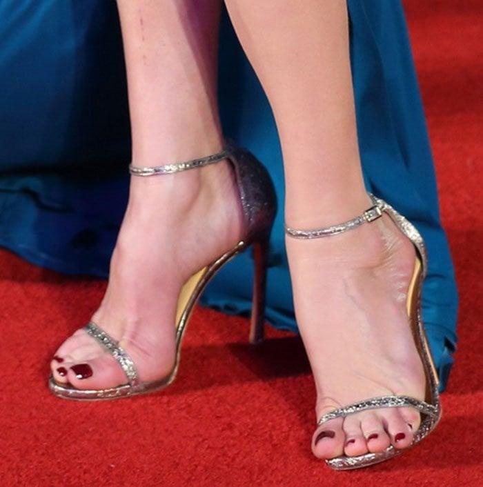 """Catherine Zeta-Jones's feet in strappy """"Nudist"""" sandals"""