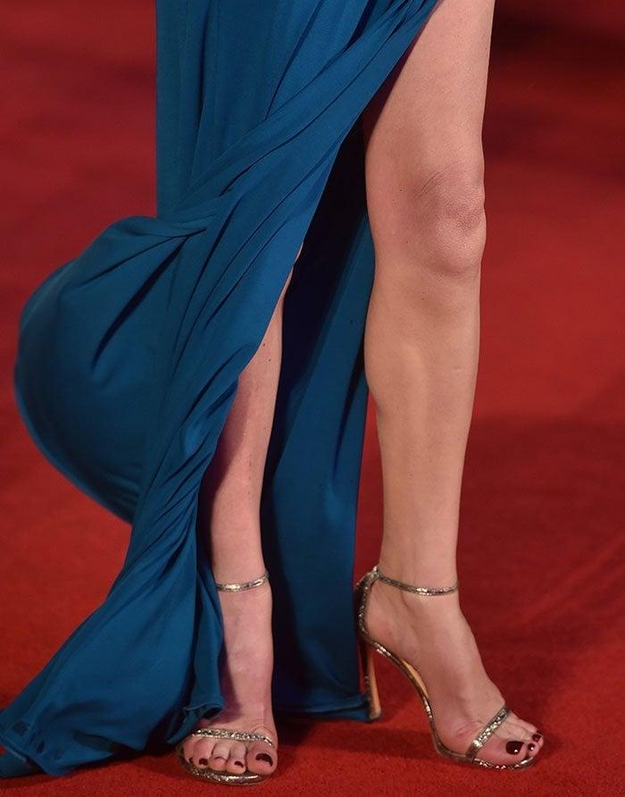 Catherine Zeta Jones's feet in sparkly Stuart Weitzman heels