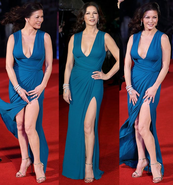 Catherine Zeta-Jones shows off her legs and chest in a teal Elie Saab gown