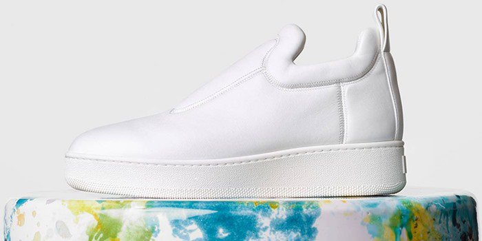 Celine White Stretch Nappa Pull On Sneakers