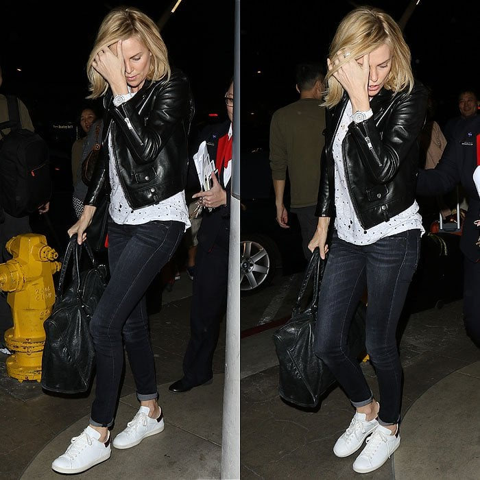 Charlize Theron white sneakers