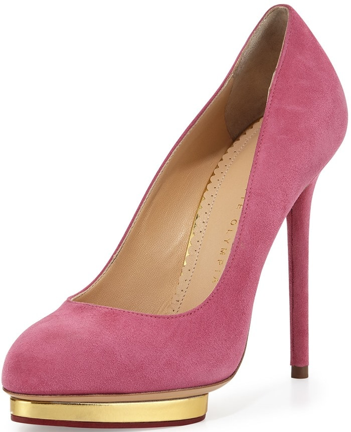 Charlotte Olympia Dotty Suede Platform Pump Cocktail Pink