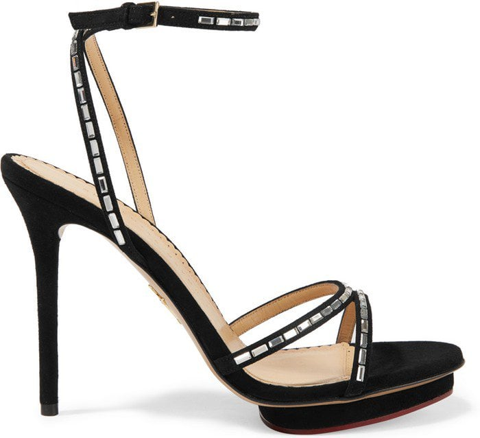 Charlotte Olympia Evelyn crystal-embellished suede sandals