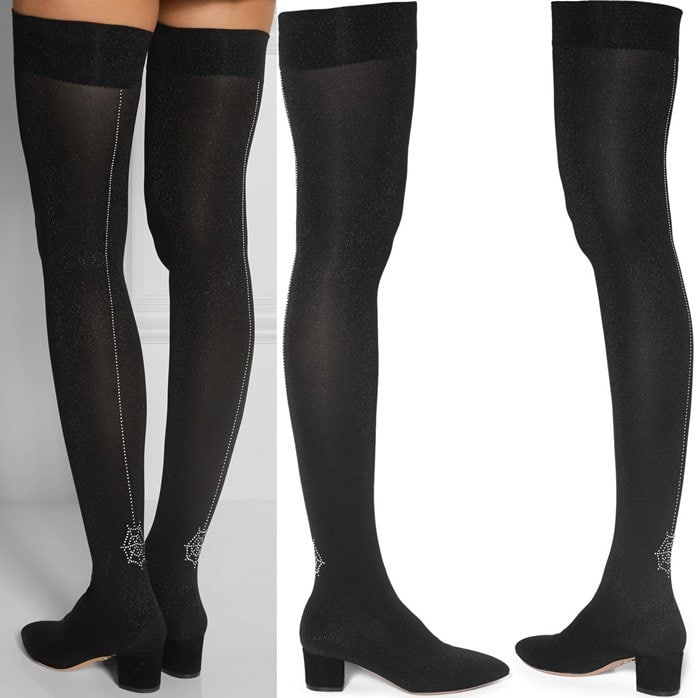 Charlotte Olympia Less Is More embellished stretch-knit over-the-knee boots