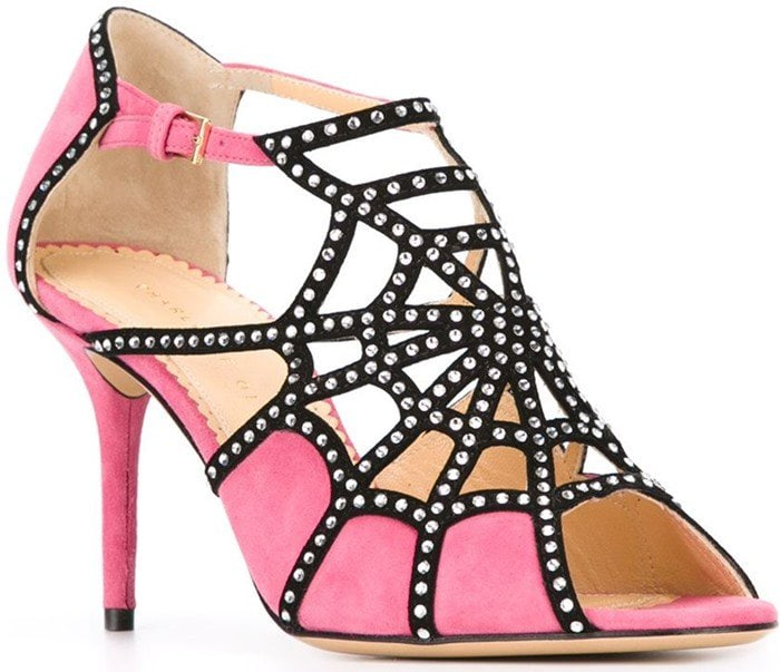 Charlotte Olympia Lotte Spider-Web Suede Sandal Pink