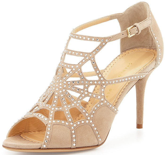 Charlotte Olympia Lotte Spider-Web Suede Sandal Platinum