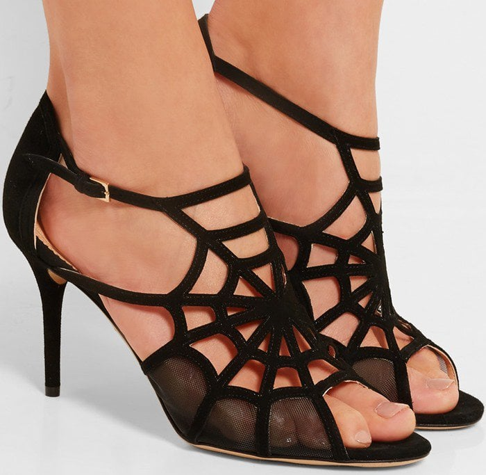 Charlotte Olympia Lotte cutout suede and mesh sandal
