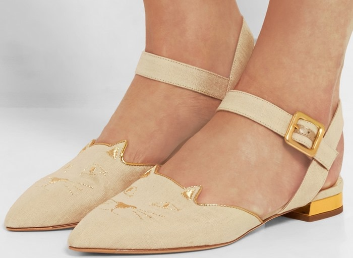 Charlotte Olympia Mid-Century Dorsay leather-trimmed canvas point-toe flat