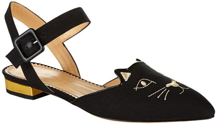 This point-toe pair is trimmed in glossy patent-leather and lightly cushioned for all-day comfort