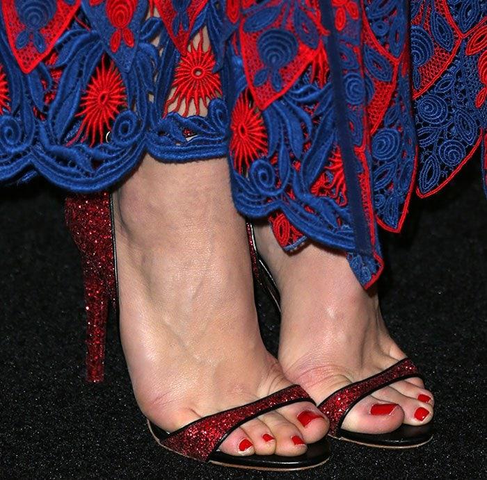 Chloe Grace Moretz's feet in glittery Miu Miu sandals