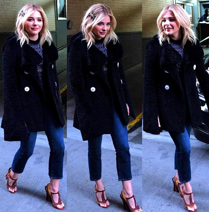 Chloe Grace Moretz wears her blonde hair down as she struts through New York City
