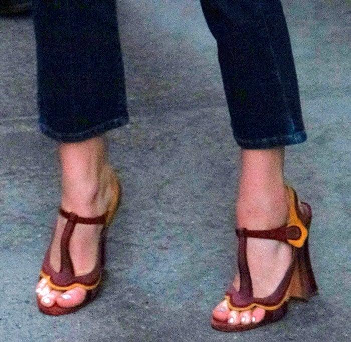 Chloe Grace Moretz's feet in interesting leather sandals
