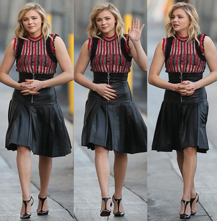 Chloe Moretz pairs Christian Louboutin pumps with her black-and-red ensemble