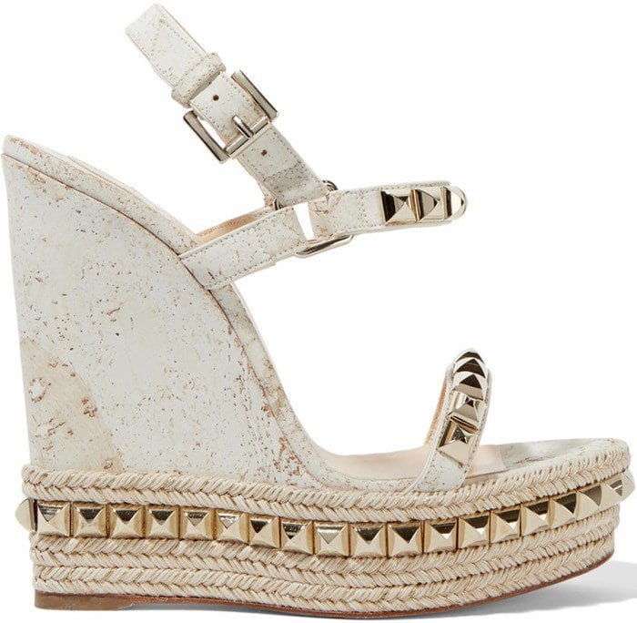 Christian Louboutin Cataclou 140 embellished cork wedge sandal