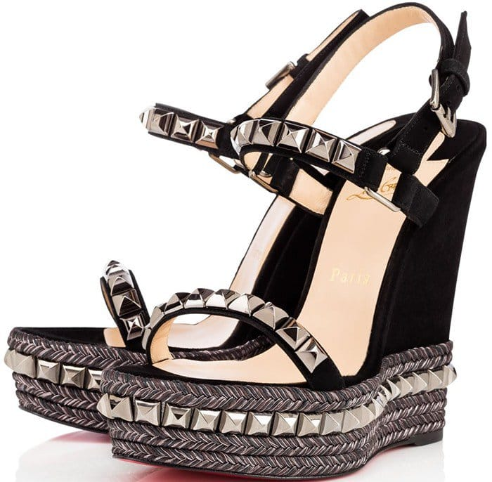 Christian Louboutin Cataclou 140 embellished cork wedge sandals black suede