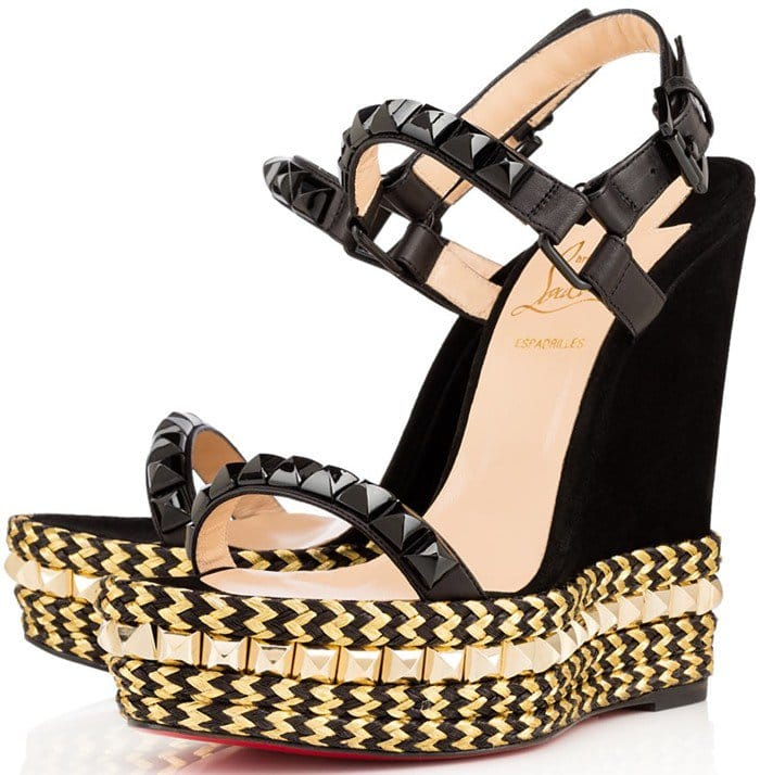 Christian Louboutin Cataclou 140 embellished cork wedge sandals black