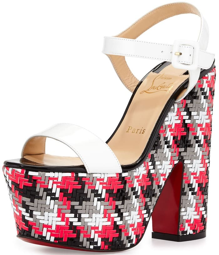 Christian Louboutin Cataclou 140 embellished cork wedge sandals red