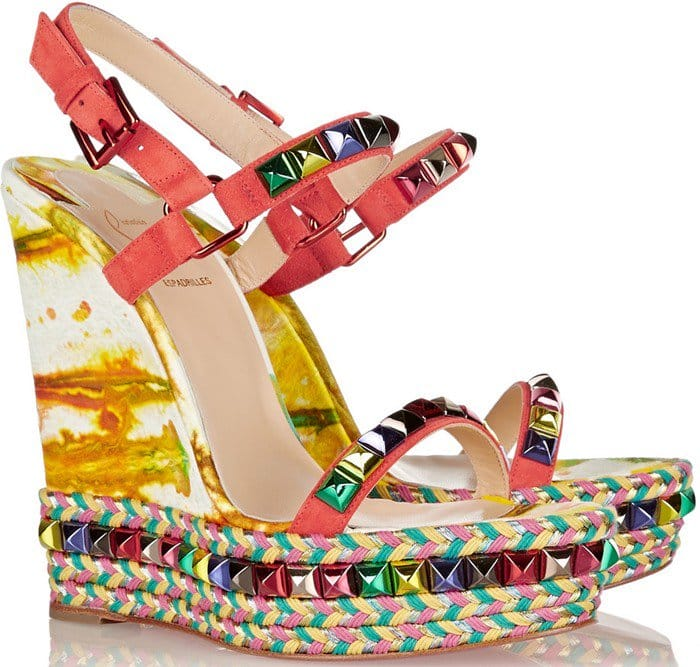 Christian Louboutin Cataclou 140 embellished suede and leather wedge sandal