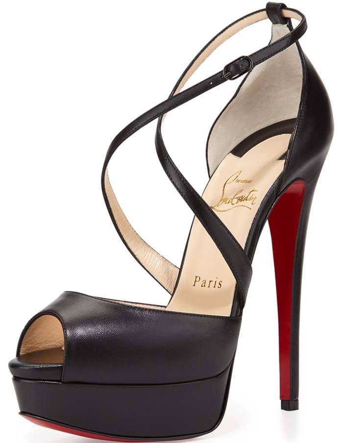 "Christian Louboutin ""Cross Me"" Platform Red Sole Sandal in Black"