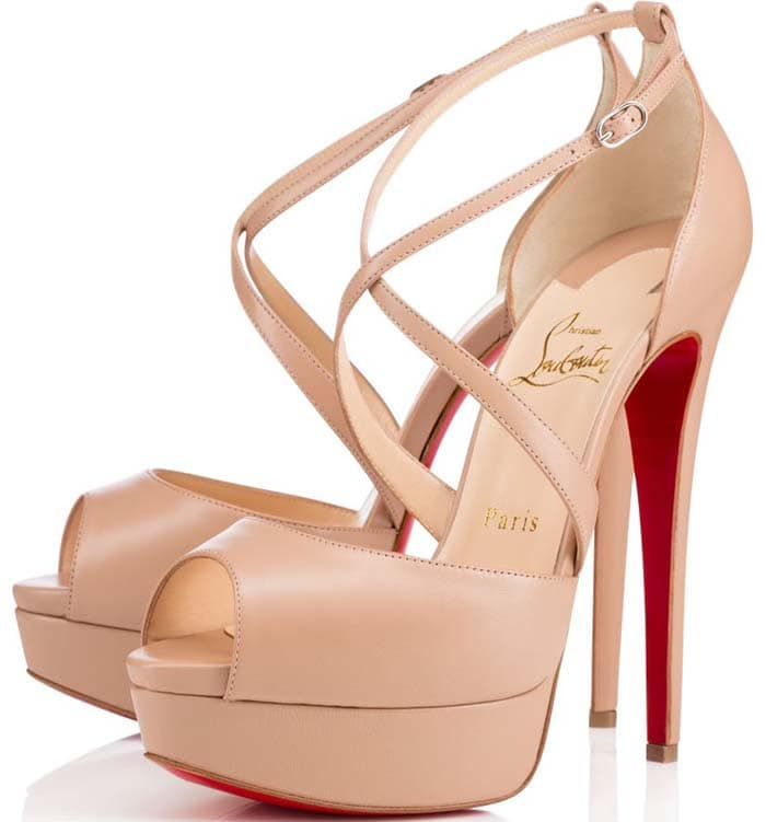 """Christian Louboutin """"Cross Me"""" Platform Red Sole Sandal in Nude"""