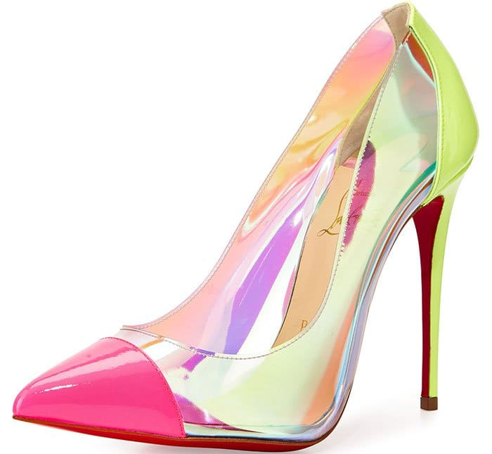 An iridescent finish adds eye-catching modern glamour to a perfectly poised pointy-toe pump