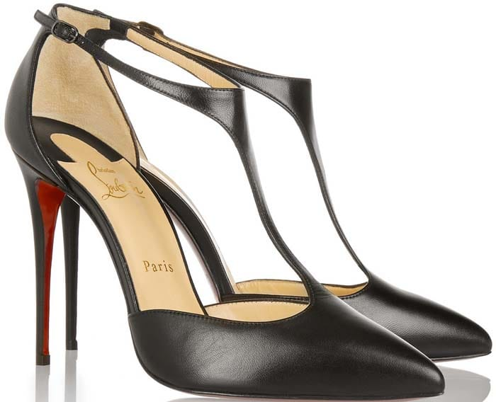 "Christian Louboutin ""J-String"" 100 Leather T-bar Pumps"
