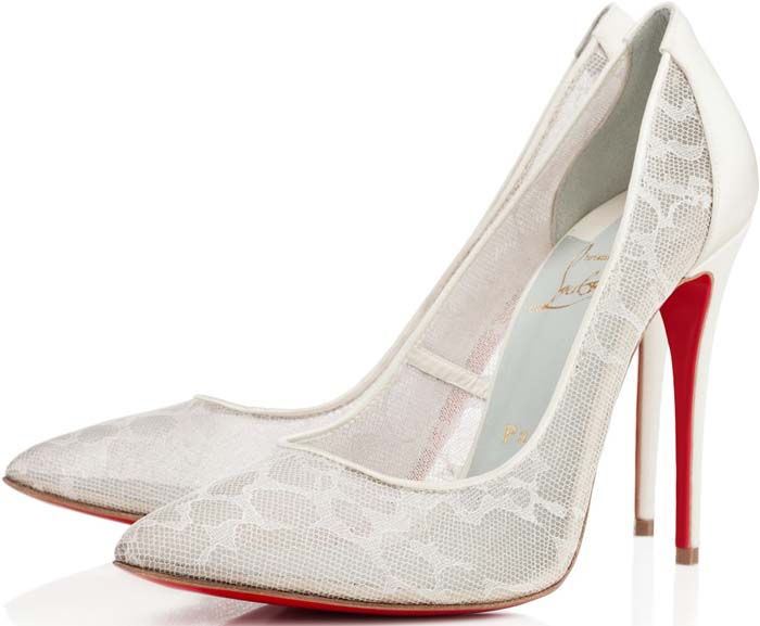 This off-white satin and lace pump is backed with mesh for structure and will look beautiful with bridal looks