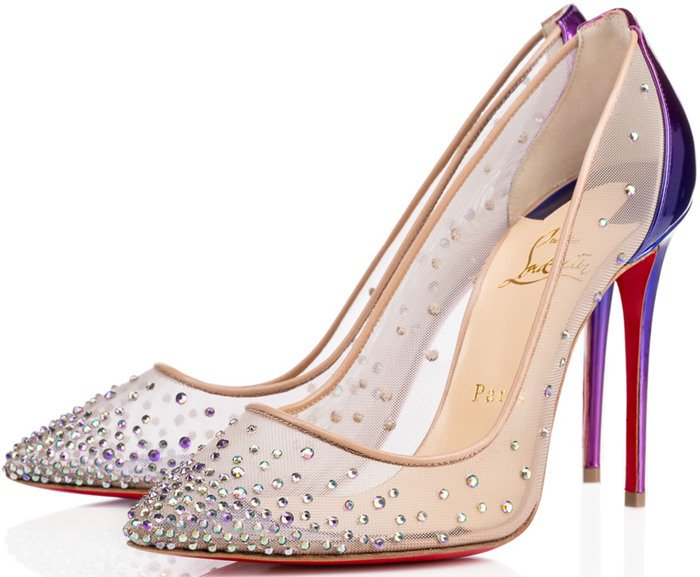 Christian Louboutin Pigalle Follies Strass Nude Mesh