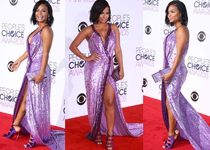 Christina Milian wears a fully-sequined violet gown from Anya Liesnik on the red carpet