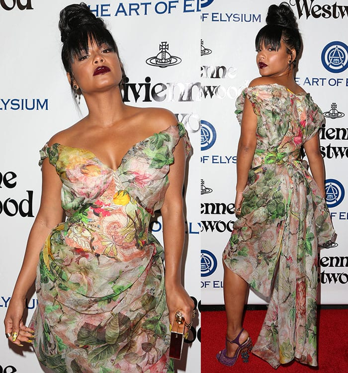 Christina-Milian-Vivienne-Westwood-floral-off-the-shoulder-dress