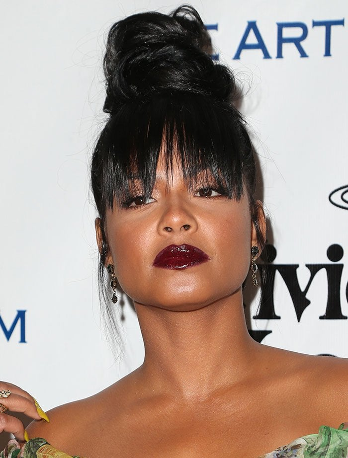 Christina-Milian-updo-wisp-bangs-bloody-red-lips