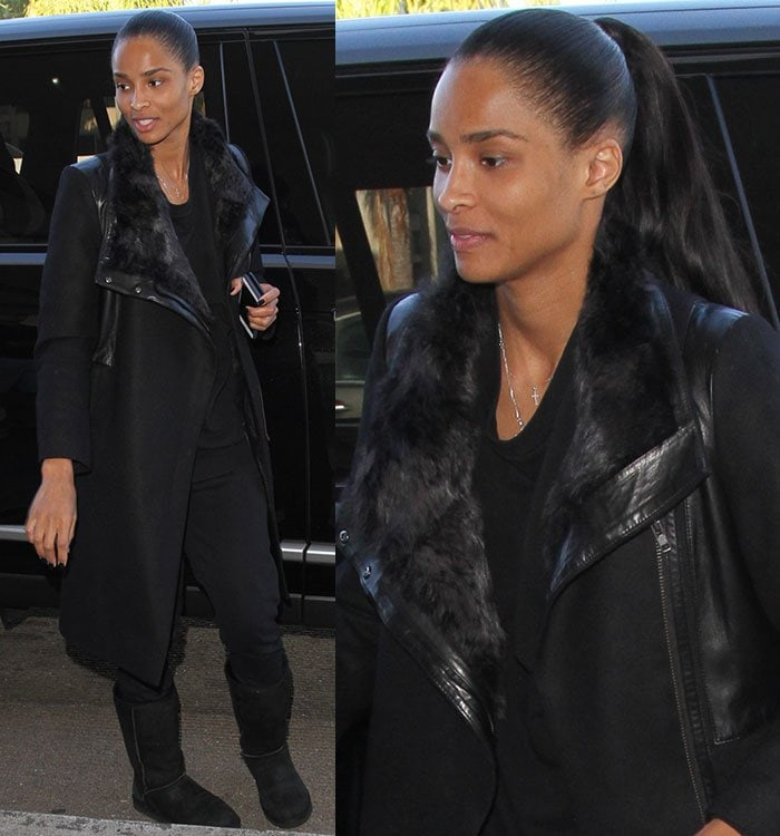 Ciara completed her look with a sleek ponytail and little-to-no makeup