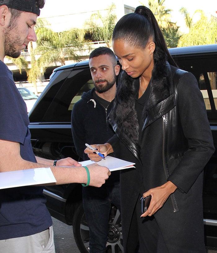 Ciara arrives at Los Angeles International (LAX) Airport on January 9, 2015