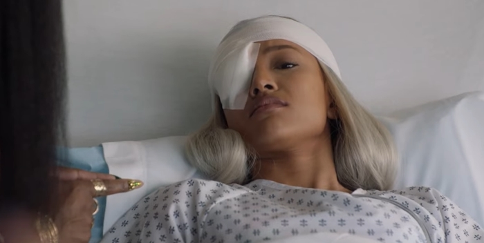 A failed assassination attempt causes Karrueche Tran's character Virginia Loc to lose an eye