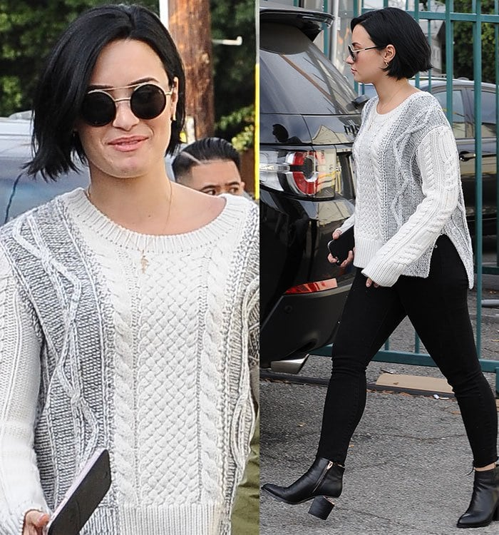 Demi Lovato wears a Derek Lam 10 Crosby sweater while out in Los Angeles for lunch