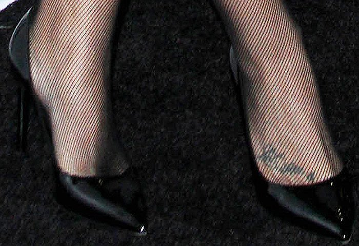 "Demi Lovato showing off her feet in ""Paris"" pumps from Saint Laurent"
