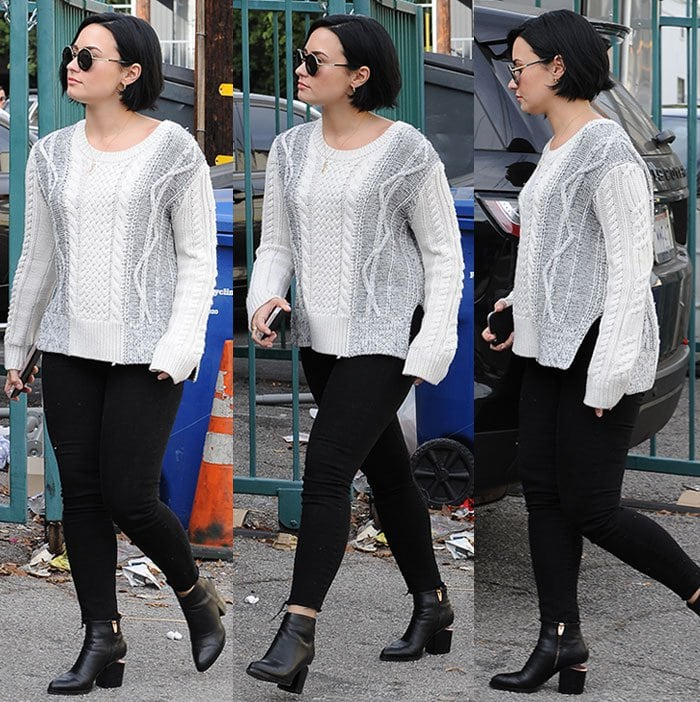 Demi-Lovato-white-knit-sweater-black-jeans-boots