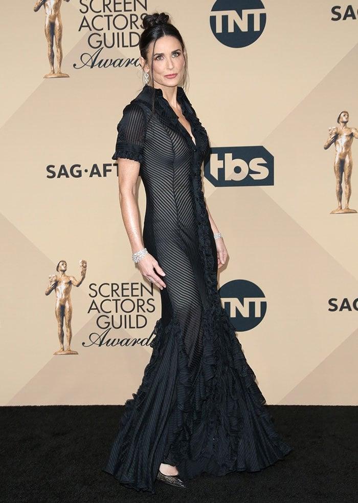 Demi-Moore-black-sheer-ruffled-dress