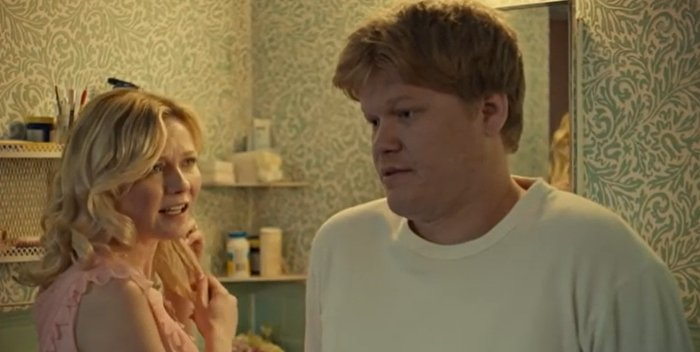 Kirsten Dunst as Peggy Blumquist and Jesse Plemons as Ed Blumquist in Fargo