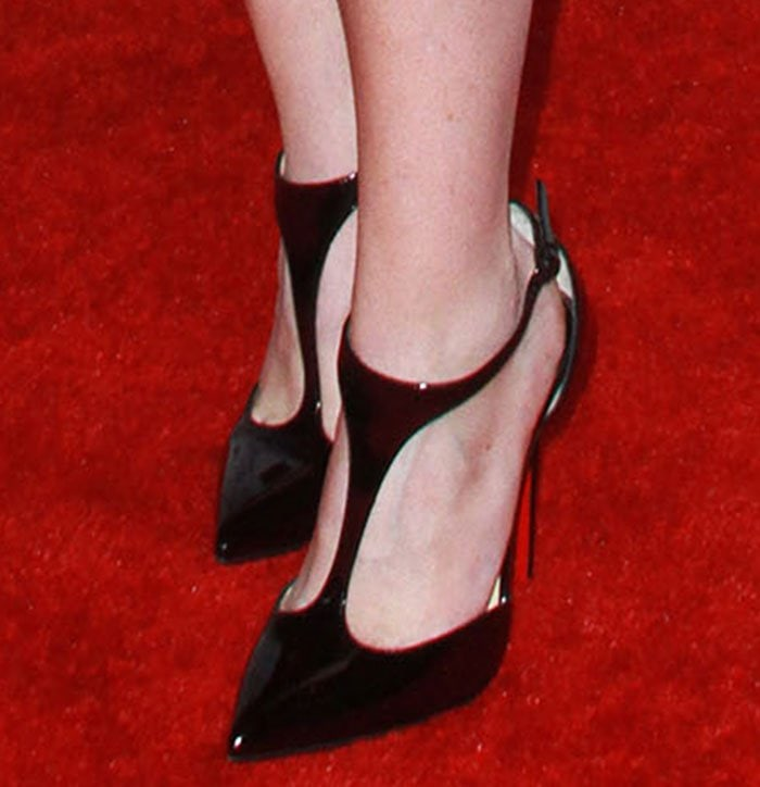 Ellen Pompeo's black Christian Louboutin J String pumps