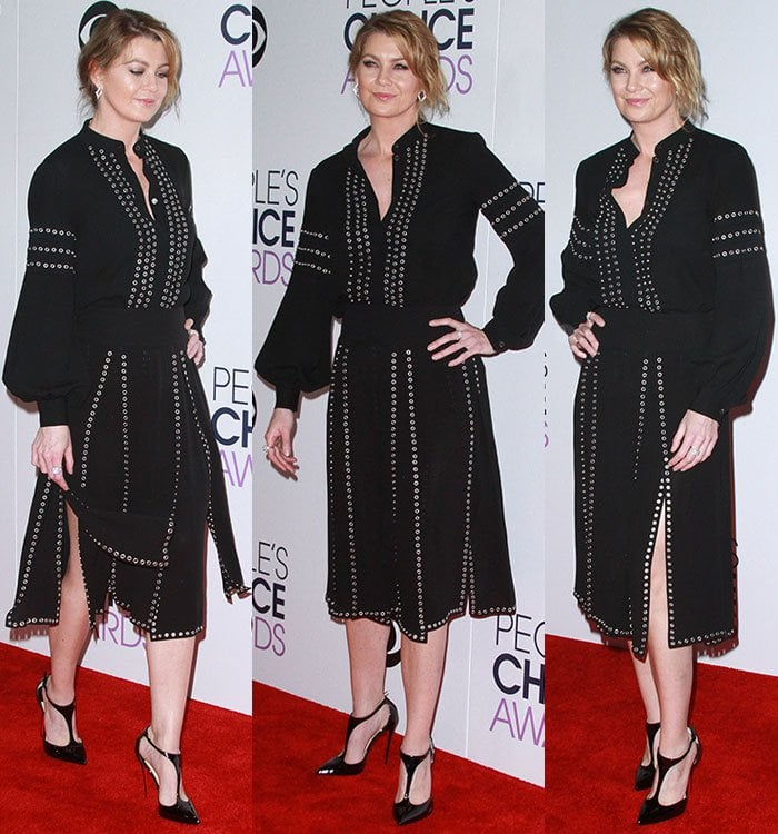 Ellen Pompeo flaunted her sexy legs in Christian Louboutin J String pumps